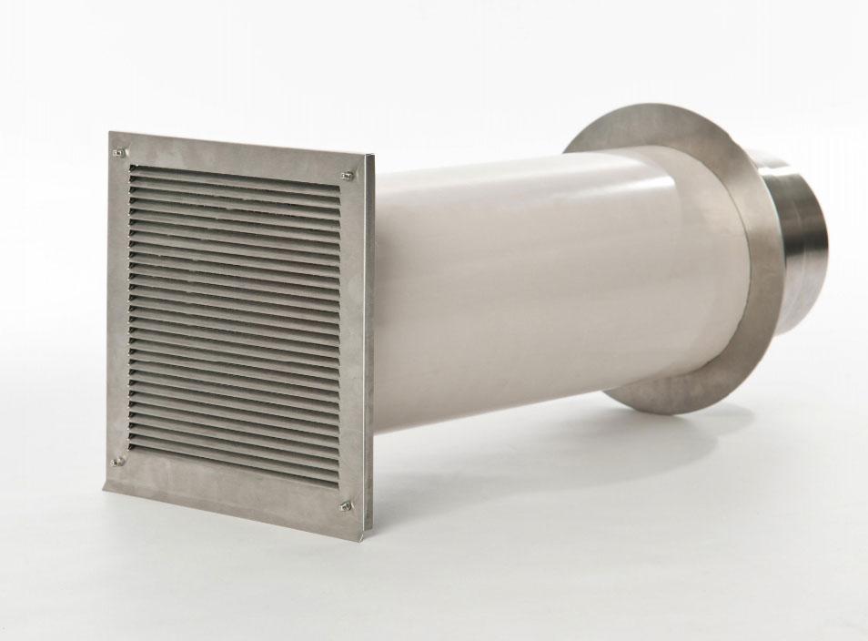 externer Luftanschluss Mauerdurchführung Einzelklappe 50mm Stutzen Bild 1