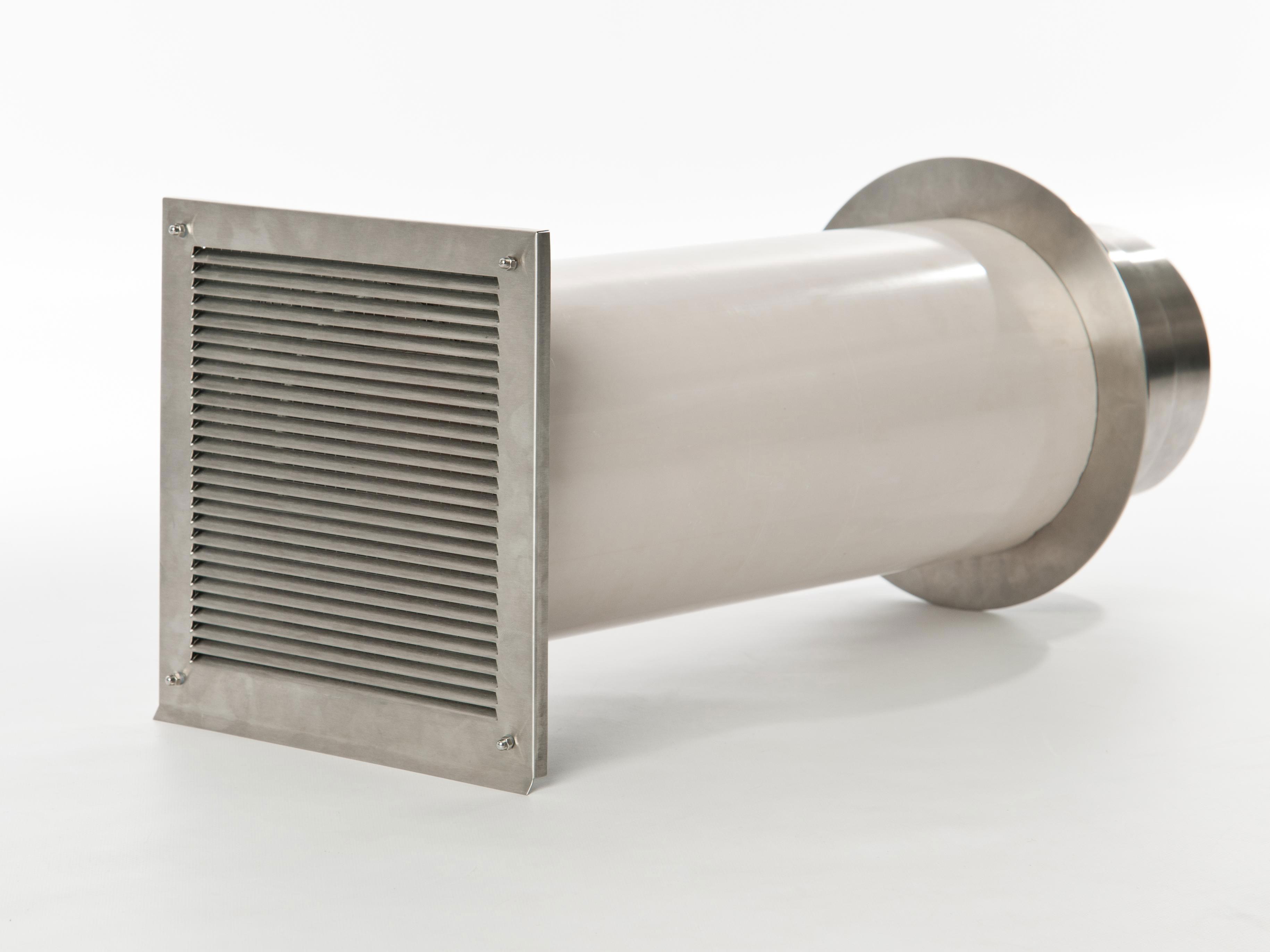 externer Luftanschluss Mauerdurchführung Einzelklappe 80mm Stutzen Bild 1