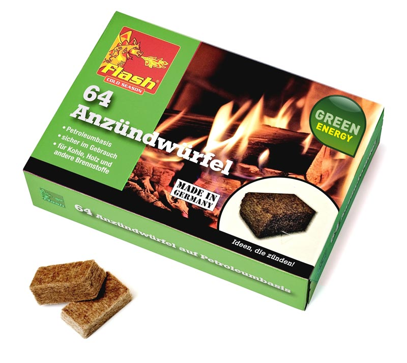Grillanzünder / Kamin Anzünder Flash Holz & Wachs 64 Stück Bild 1