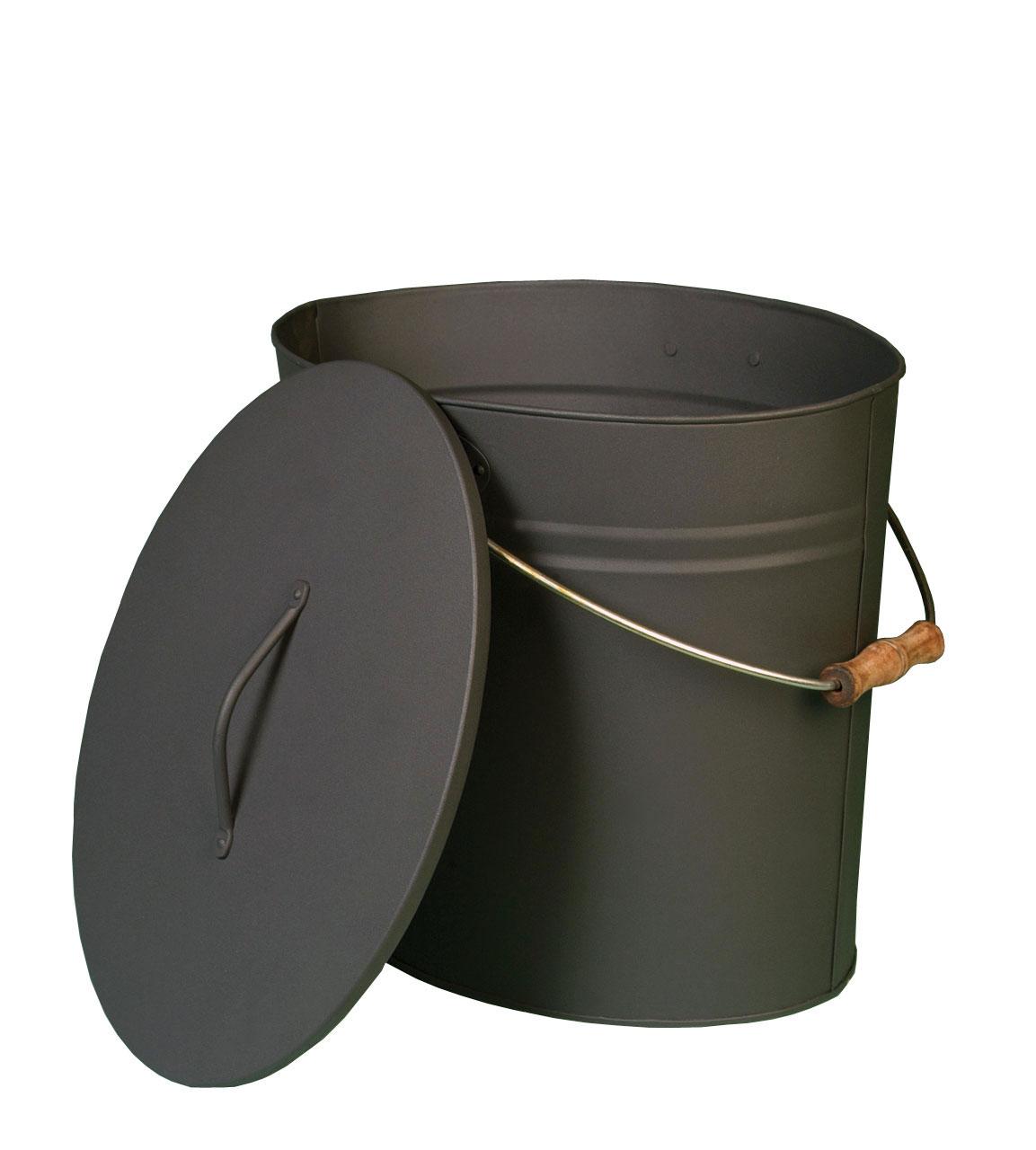 Ascheeimer / Pelleteimer / Kohleeimer Lienbacher oval anthrazit Deckel Bild 1