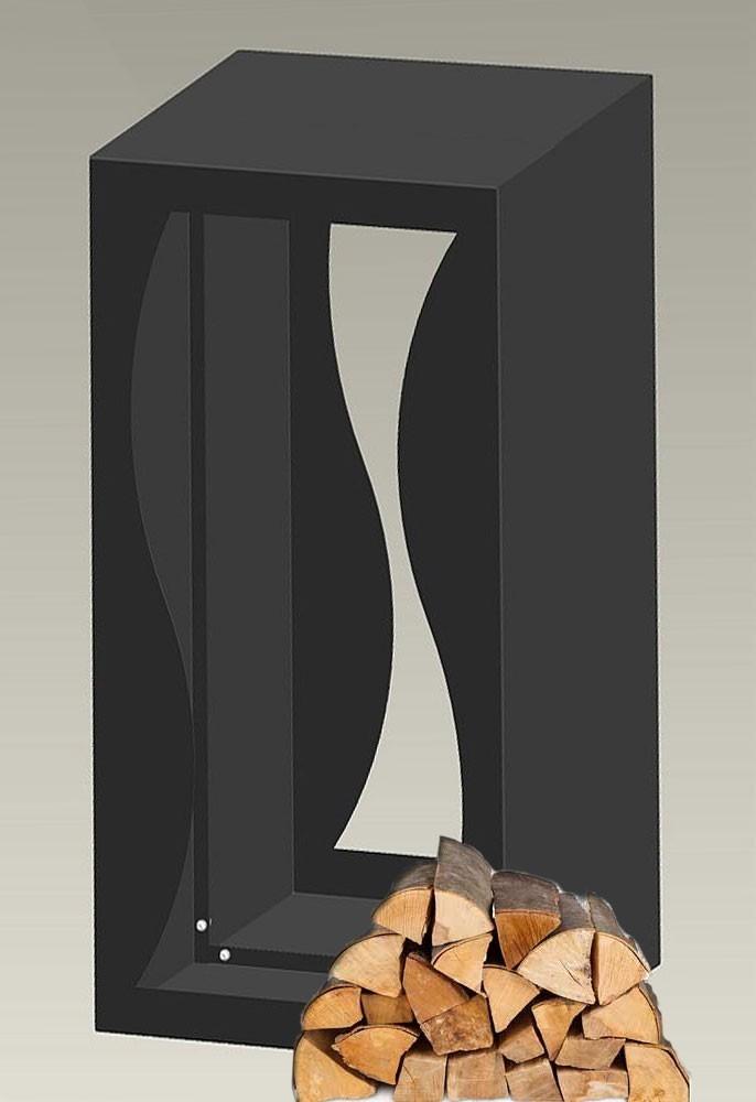 B-Ware Kaminholzregal / Holzablage Stahlblech anthrazit 50x36x90cm Bild 3