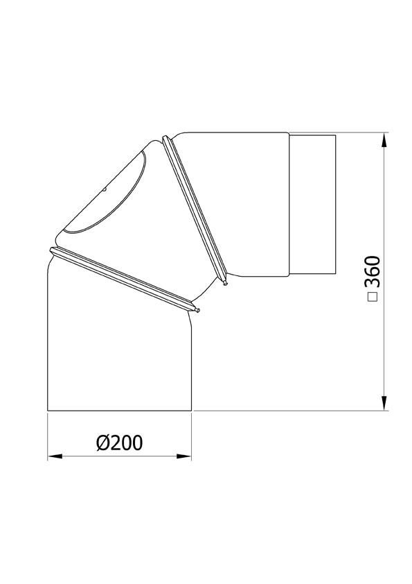 B-Ware Ofenrohr Bogenknie 3tlg verstellbar 0-90° Ø200mm schwarz m. Tür Bild 1
