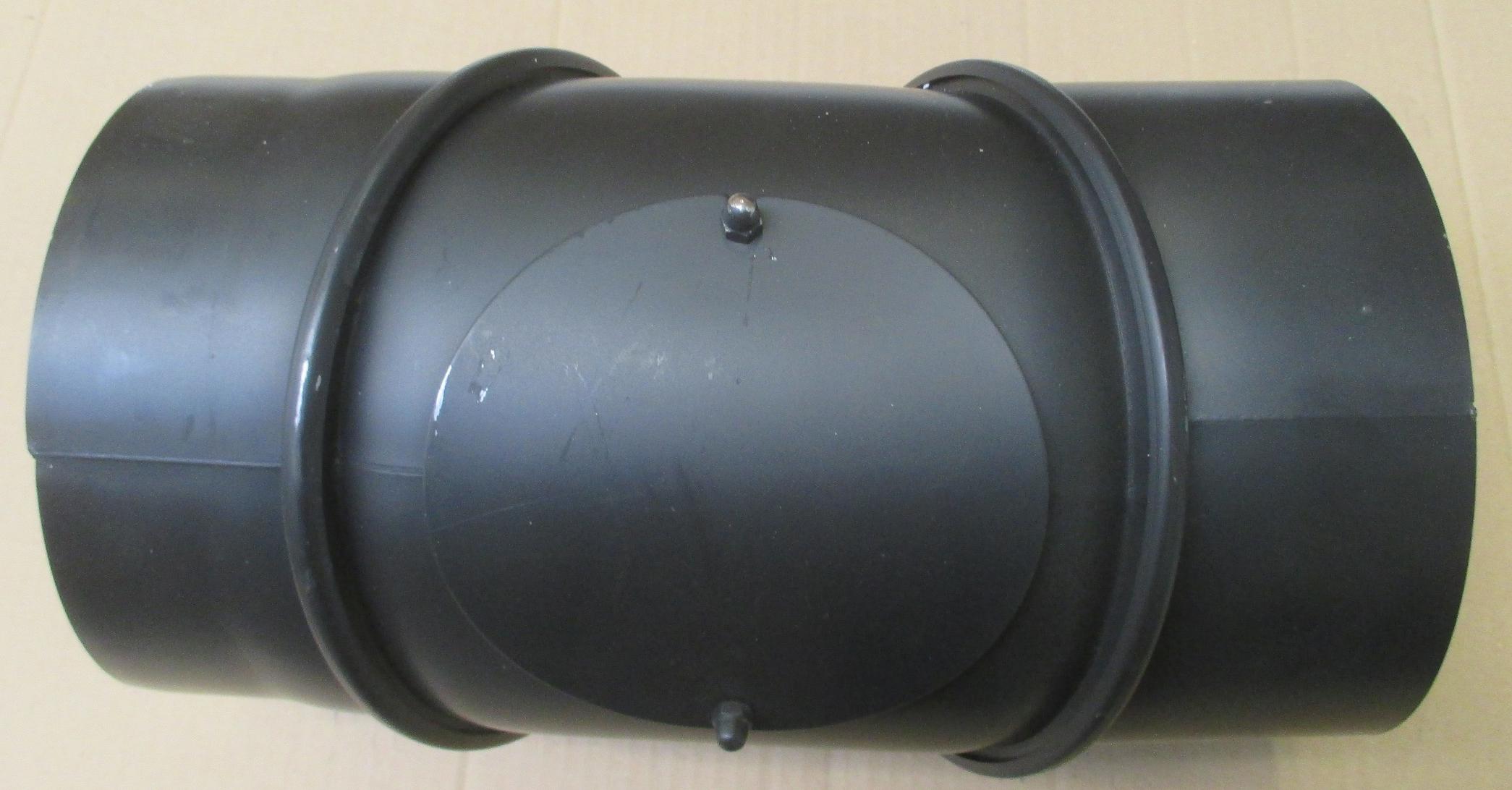 B-Ware Ofenrohr Bogenknie 3tlg verstellbar 0-90° Ø200mm schwarz m. Tür Bild 3