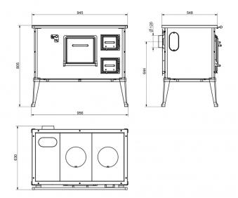 Küchenherd Westminster Wamsler Rustika Typ 127 weiß 95cm 6kW Ans. re Bild 2