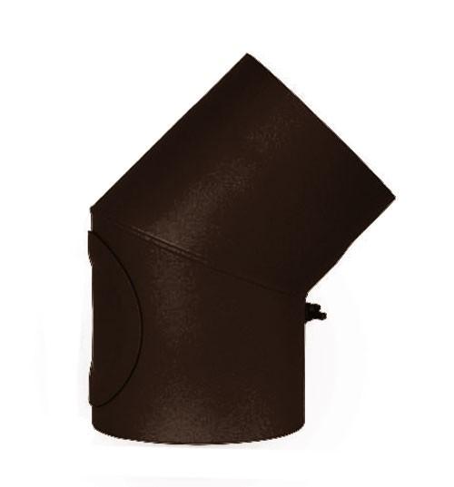 Ofenrohr / Rauchrohr Bogenknie 45° Ø120mm Stahlblech braun mit Tür Bild 2