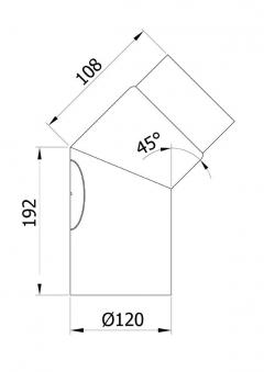 Ofenrohr / Rauchrohr Bogenknie 45° Ø120mm Stahlblech braun mit Tür Bild 1