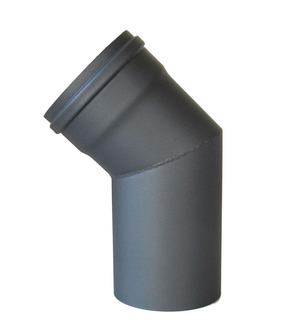Ofenrohr / Rauchrohr für Pelletofen Bogen 45° Ø 100 mm ohne Tür grau Bild 2