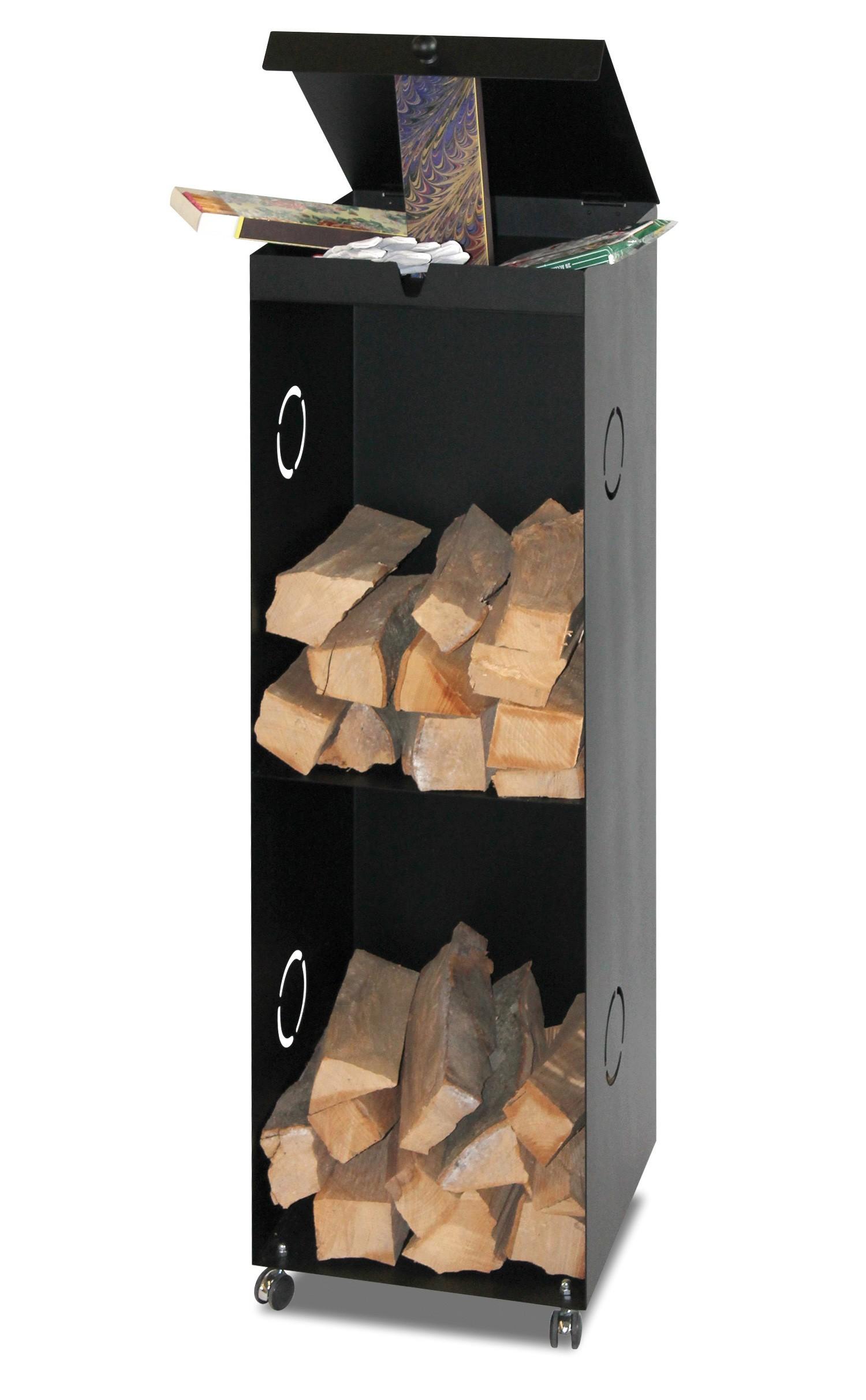 B-Ware Kaminholzregal Lienbacher fahrb. schwarz 39x39x126cm Bild 1