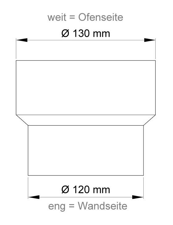 B-Ware Ofenrohr Reduzierung 130weit auf 120eng schwarz Bild 1