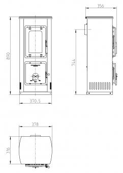 Kaminofen / Werkstattofen Thorma Milano II Stahl rot emailliert 5kW Bild 3