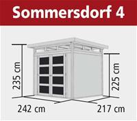 Gerätehaus Gartenhaus 19mm Karibu Sommersdorf 4 terragrau 242x217cm