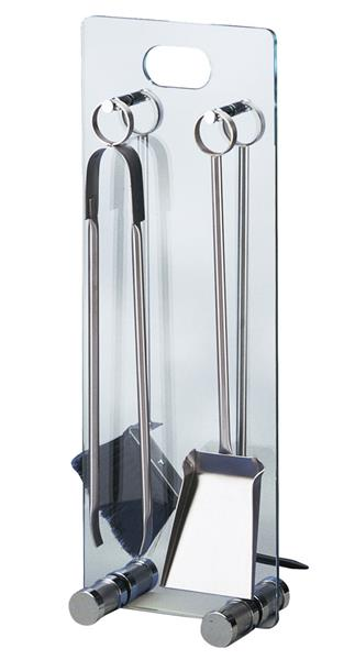 kaminbesteck kamingarnitur lienbacher glas chrom 4teilig. Black Bedroom Furniture Sets. Home Design Ideas
