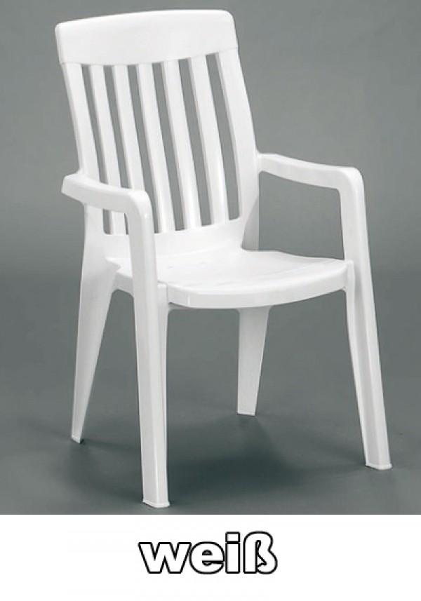 sieger gartensessel stapelbar palma wei kunststoff ebay. Black Bedroom Furniture Sets. Home Design Ideas