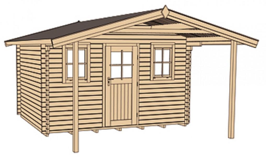 weka blockbohlenhaus 45 mm weekendhaus 138a gr 2 460x590cm mit vordach ebay. Black Bedroom Furniture Sets. Home Design Ideas