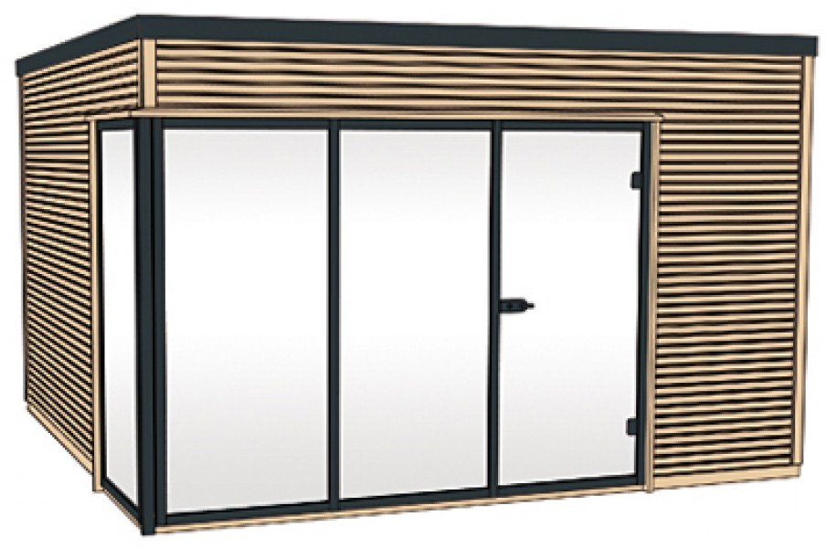 Weka design gartenhaus cubilis natur 390x390cm ebay - Gartenhaus glasfront ...