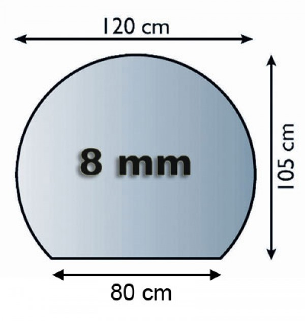 Funkenschutzplatte / Bodenplatte Glas Kreisabschnitt 1200x1050x8mm