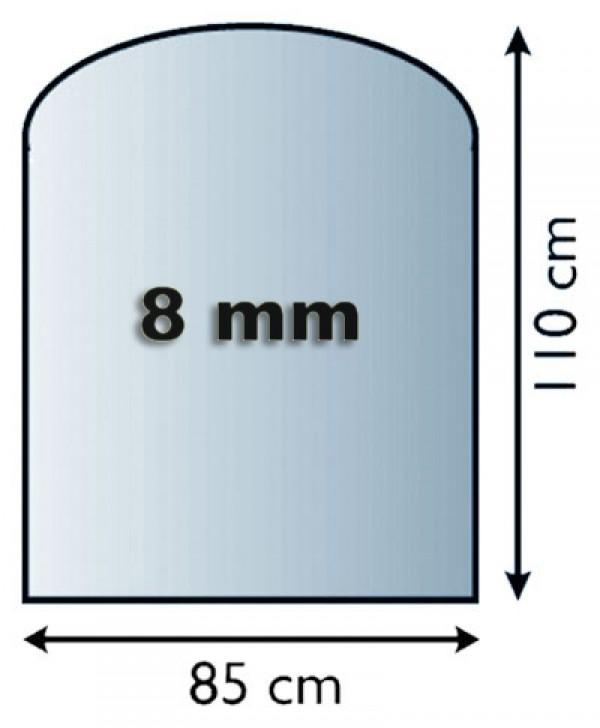 Funkenschutzplatte / Bodenplatte Glas Rundbogen 850x1100x8mm