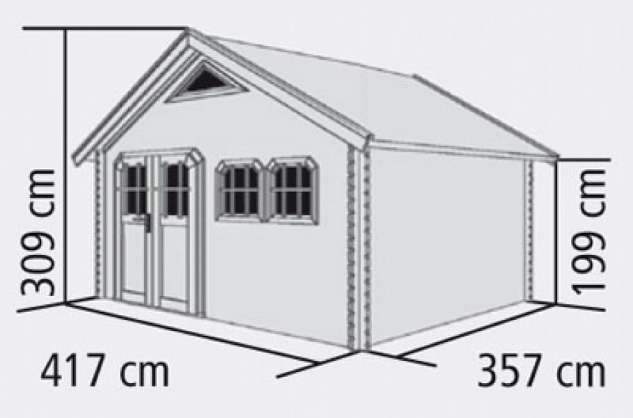 karibu blockbohlenhaus 40 mm doderic 4 natur 481x397cm ebay. Black Bedroom Furniture Sets. Home Design Ideas
