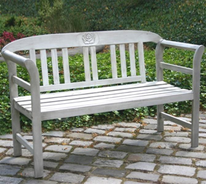 gartenbank parkbank rose 2 sitzer akazie antik wei ebay. Black Bedroom Furniture Sets. Home Design Ideas