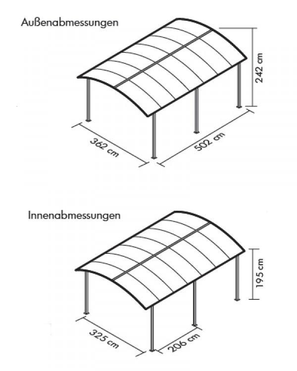 carport arcadia 5000 tepro aluminium kunststoff 362x502x242cm ebay. Black Bedroom Furniture Sets. Home Design Ideas
