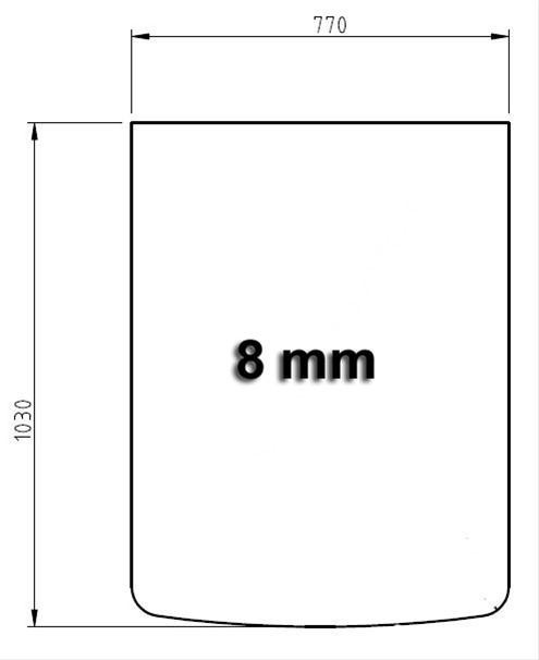 Funkenschutzplatte Bodenplatte Hark aus Glas 770x1030mm Segmentbogen