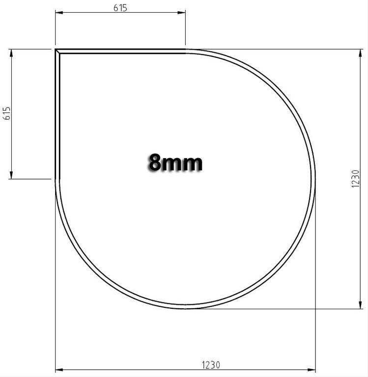 Funkenschutzplatte Bodenplatte Hark aus Glas 1230x1230mm Tropfenform