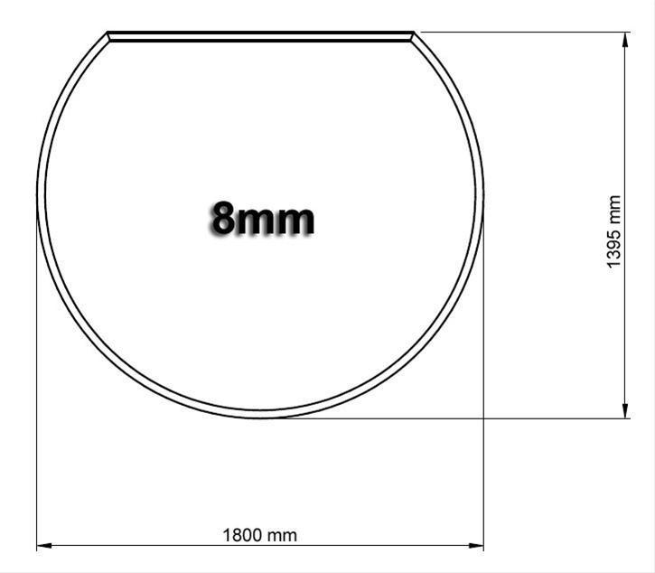 Funkenschutzplatte Bodenplatte Hark aus Glas 1800x1395mm Kreisform