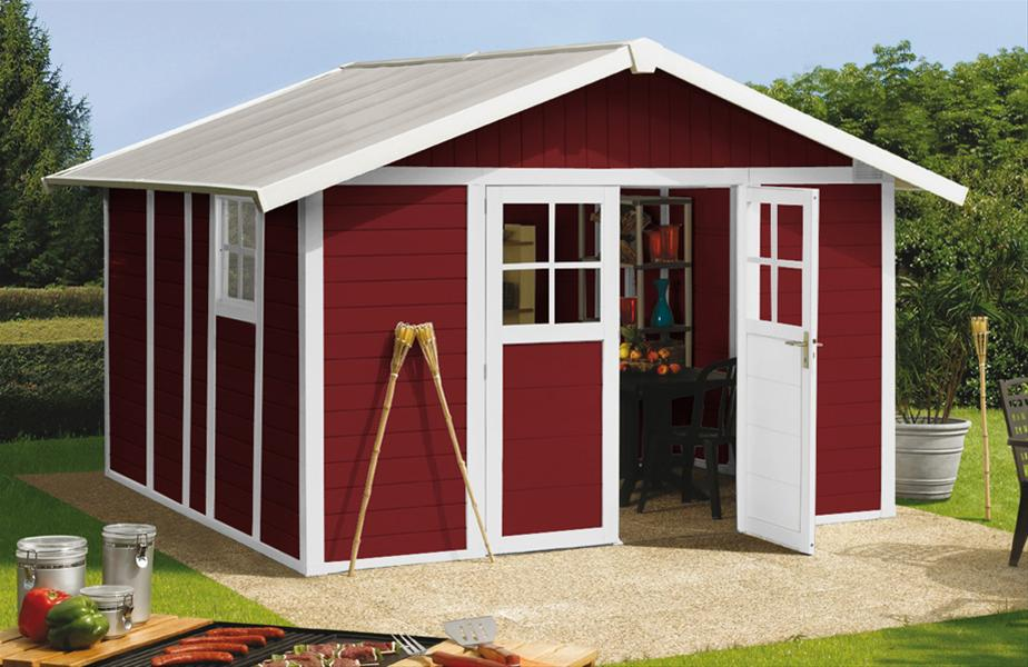grosfillex gartenhaus deco h 11 kunststoff 315x355cm rot ebay. Black Bedroom Furniture Sets. Home Design Ideas