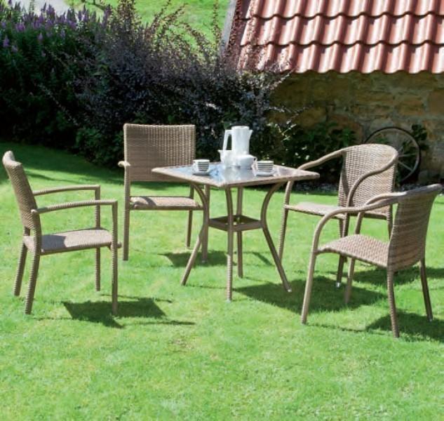siena garden gartentisch wien polyrattan mit glasplatte 70x70 cm sand ebay. Black Bedroom Furniture Sets. Home Design Ideas