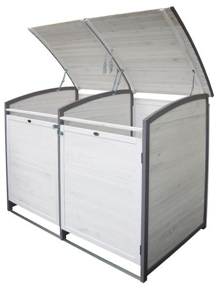 m lltonnenbox habau 120 l doppel weiss grau holz ca 122x76x116cm ebay. Black Bedroom Furniture Sets. Home Design Ideas
