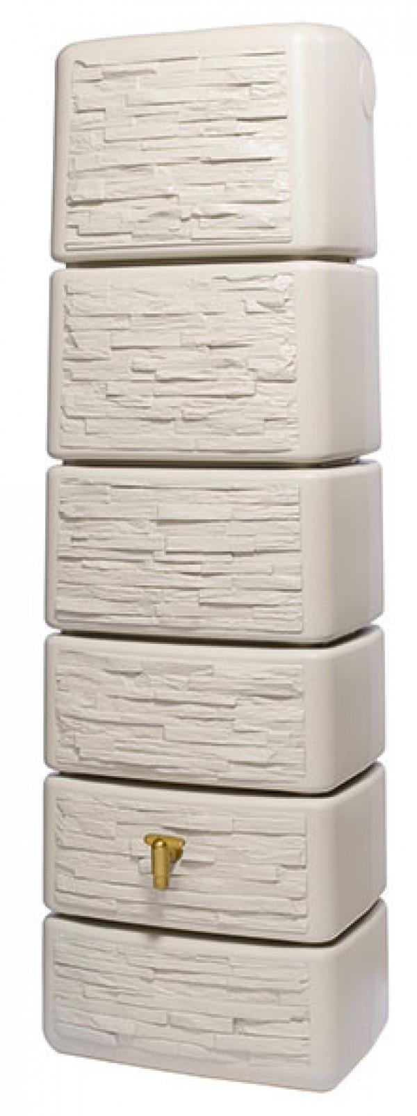 regenwasser wandtank slim 300 liter stone dekor sandbeige 4rain