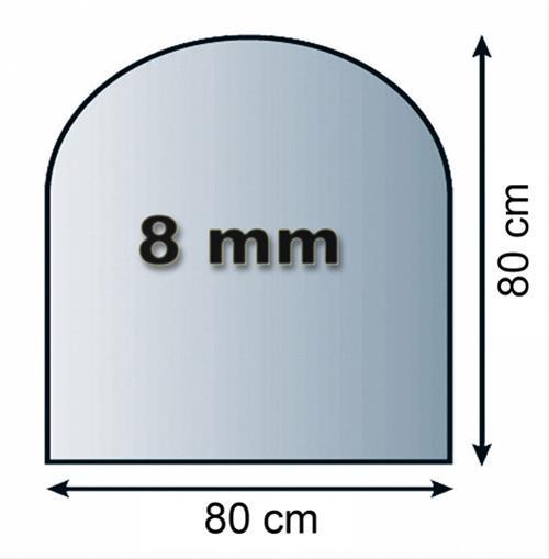 Funkenschutzplatte Glas 8mm Lienbacher Rundbogen 80x80cm