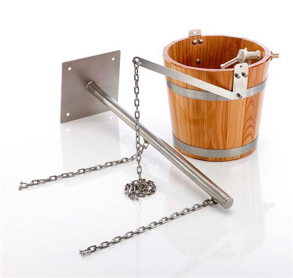 eliga schwalldusche aus holz mit tragarm f r sauna ebay. Black Bedroom Furniture Sets. Home Design Ideas