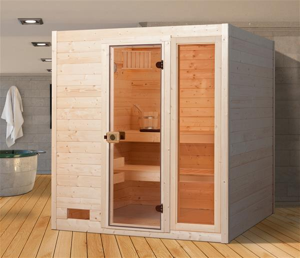 weka sauna valida 3 gtf 38 mm ohne ofen mit glast r und fenster ebay. Black Bedroom Furniture Sets. Home Design Ideas