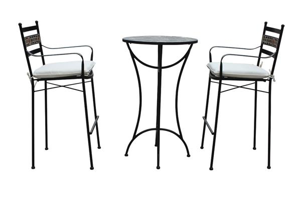 gartenm bel bar set louna 3 teilig eisen schwarz mosaik ebay. Black Bedroom Furniture Sets. Home Design Ideas