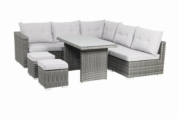 Gartenmöbel / Loungemöbel Set acamp Sicilia 8teilig Polyrattan grau ...