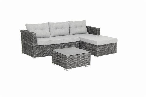 gartenbank gartensofa 3 sitzer acamp sicilia polyrattan grau ebay. Black Bedroom Furniture Sets. Home Design Ideas