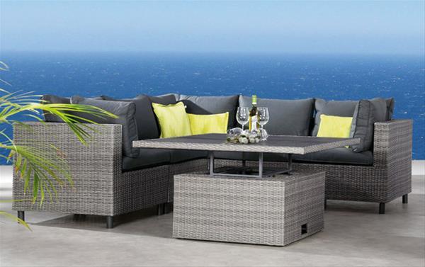 gartenm bel loungem bel set bonaire best 6 teilig polyrattan grau ebay. Black Bedroom Furniture Sets. Home Design Ideas