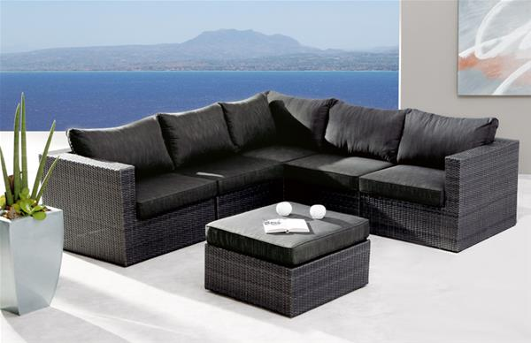 Gartenmöbel / Loungemöbel Set Aruba Best 6 Teilig Polyrattan Anthrazit