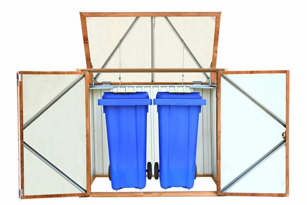 duramax m lltonnenbox f r 2 tonnen metall dekor eiche 154x96x130cm ebay. Black Bedroom Furniture Sets. Home Design Ideas