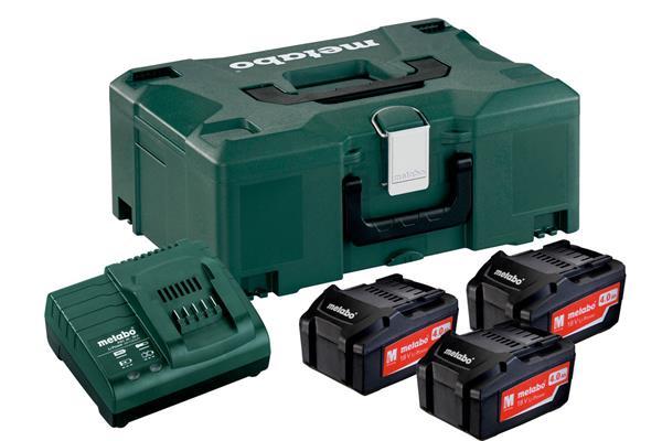 Metabo Basis Set mit 3 Akku 18V, 4Ah / Ladegerät / MetaLoc II Koffer