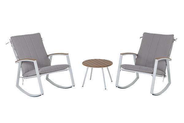leco gartenm bel set schaukelstuhl set ambiente stahl wei grau ebay. Black Bedroom Furniture Sets. Home Design Ideas