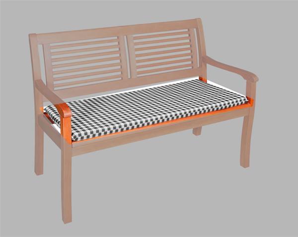 auflage f r gartenbank 3 sitzer 150x48cm vivo des 6953 anthr kariert ebay. Black Bedroom Furniture Sets. Home Design Ideas
