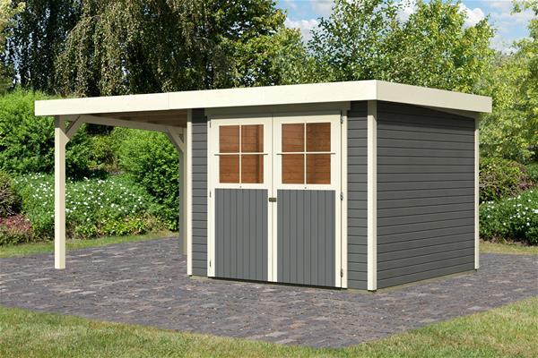 karibu gartenhaus 19 mm limburg 5 grau mit anbaudach 491x262cm ebay. Black Bedroom Furniture Sets. Home Design Ideas