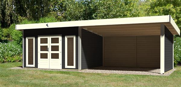 karibu gartenhaus 40 tecklenburg 1 modern grau anbau 4m wand 824x360cm ebay. Black Bedroom Furniture Sets. Home Design Ideas
