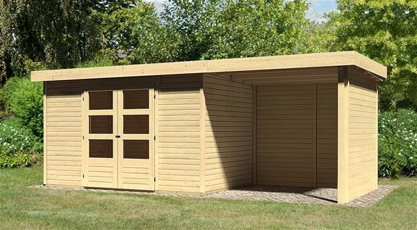 woodfeeling gartenhaus 19mm askola 4 natur anbau 225 wand 554x238cm ebay. Black Bedroom Furniture Sets. Home Design Ideas