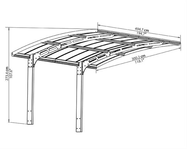 palram carport arizona 5000 aluminium kunststoff. Black Bedroom Furniture Sets. Home Design Ideas