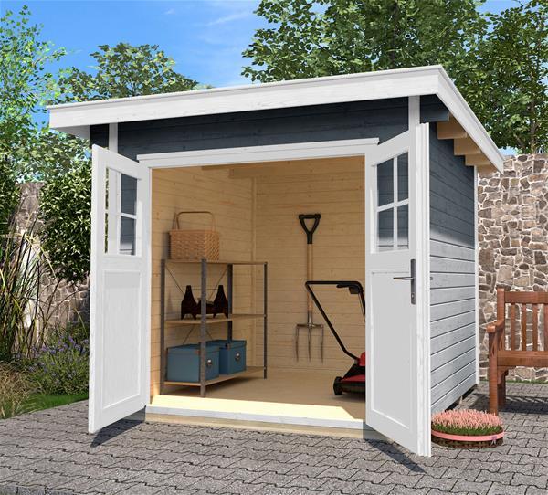 woodfeeling gartenhaus 19mm askola 4 anbau 275cm 592x238cm aktion. Black Bedroom Furniture Sets. Home Design Ideas