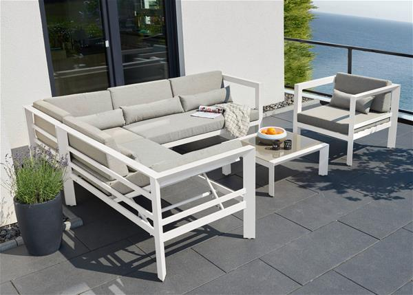 gartenm bel lounge set stockholm greemotion alu wei grau ebay. Black Bedroom Furniture Sets. Home Design Ideas